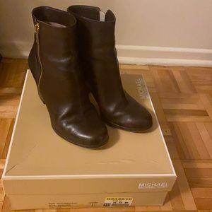 Michael Kors Leather Ankle Boot Dark Coffee